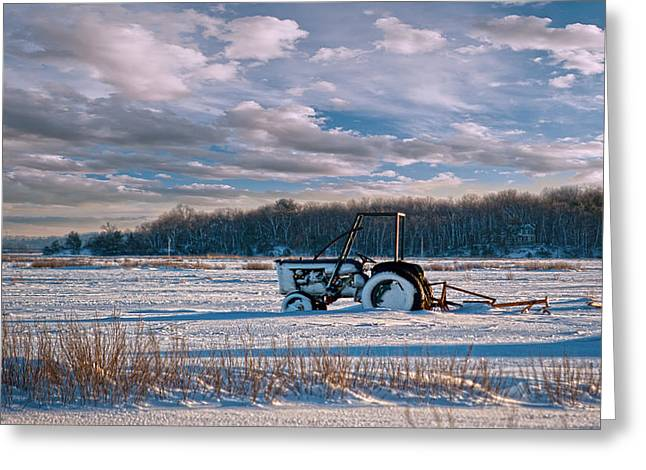 Framed Winter Snow Print Greeting Cards - Snow Tractor Greeting Card by Rick Mosher