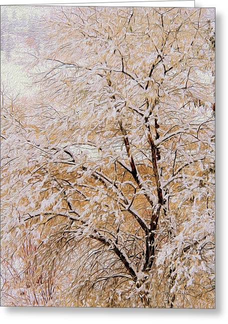 Winter Solstice Greeting Cards Greeting Cards - Snow Tree in Beige Greeting Card by Kathy Bassett
