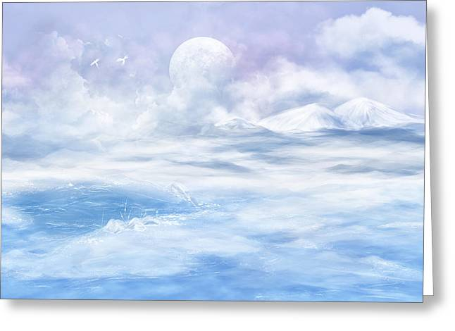 Mystical Landscape Glass Greeting Cards - Snow valley Greeting Card by Nika Lerman
