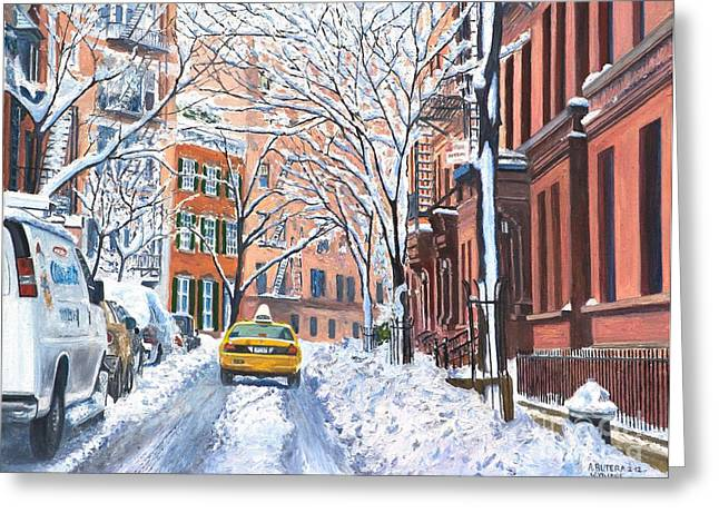 Street Scenes Paintings Greeting Cards - Snow West Village New York City Greeting Card by Anthony Butera