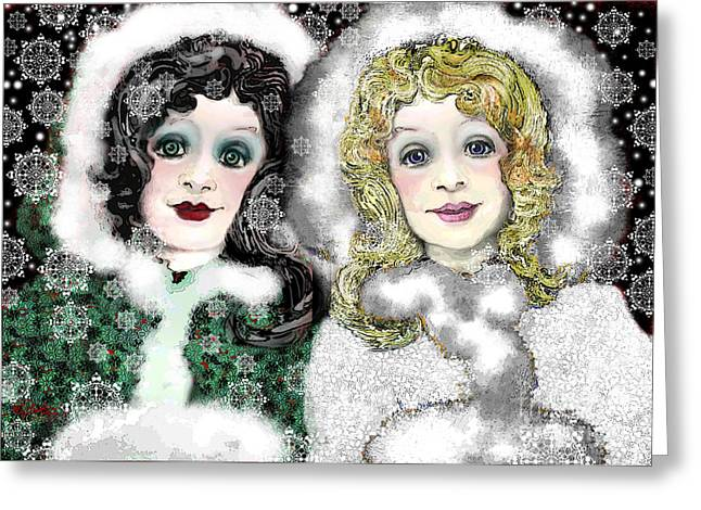 White As Snow Greeting Cards - Snow White and Rose Red Greeting Card by Carol Jacobs