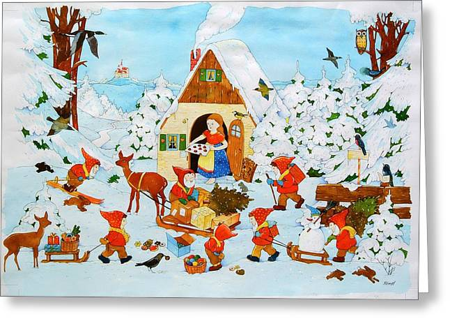 Snow White And The Seven Dwarfs Greeting Card by Christian Kaempf