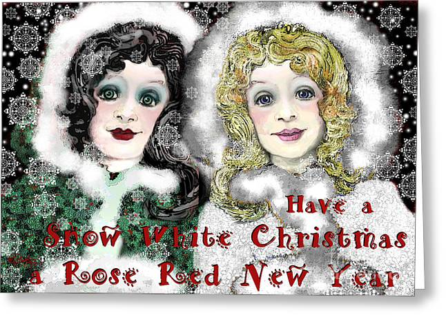 White As Snow Greeting Cards - Snow White Christmas Greeting Card by Carol Jacobs