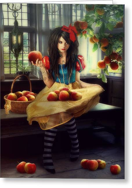 Snow White Greeting Card by Cindy Grundsten