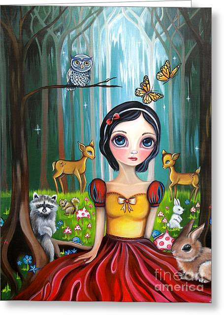 Snow Tree Prints Greeting Cards - Snow White in the Enchanted Forest Greeting Card by Jaz Higgins