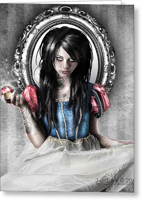 Darks Greeting Cards - Snow White Greeting Card by Judas Art