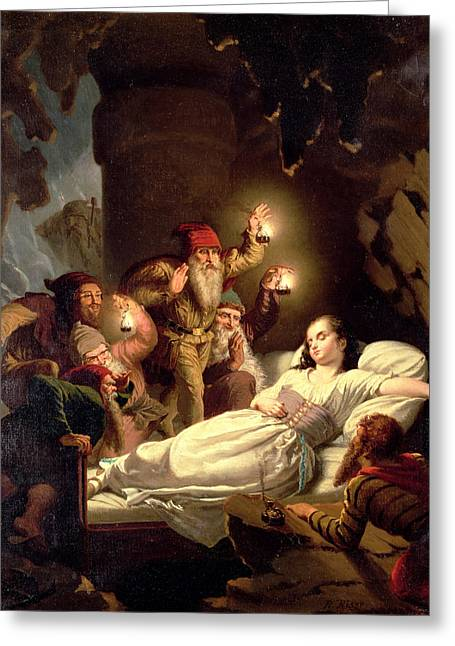 Dwarf Greeting Cards - Snow White Greeting Card by Roland Risse