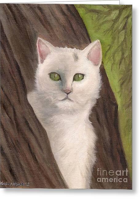 Snow White The Cat Greeting Card by Kostas Koutsoukanidis