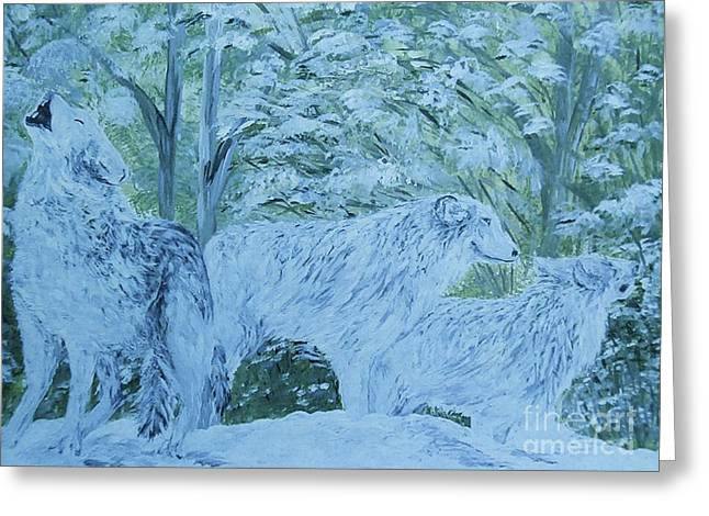 Mountain Greeting Cards - Snow Wolves Greeting Card by Eloise Schneider
