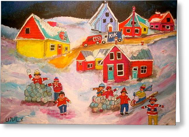 Snowball Accident Montreal Memories Greeting Card by Michael Litvack