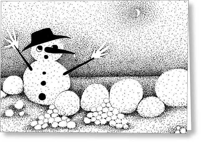 Snowball Mixed Media Greeting Cards - Snowball Fight Greeting Card by Joy Bradley