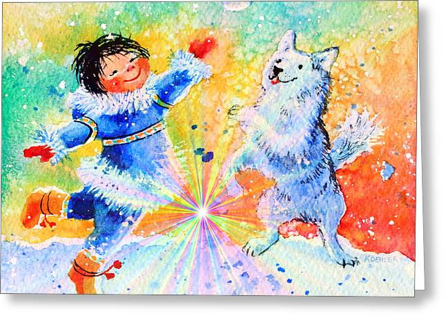Husky Greeting Cards - Snowball Fun Greeting Card by Hanne Lore Koehler