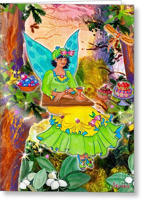 Banquet Digital Art Greeting Cards - Snowberry Fairy Yolanda Fairfield Greeting Card by Teresa Ascone