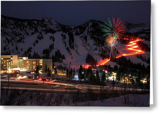 Torchlight Greeting Cards - Snowbird Torchlight Parade and Firework Greeting Card by Brett Pelletier
