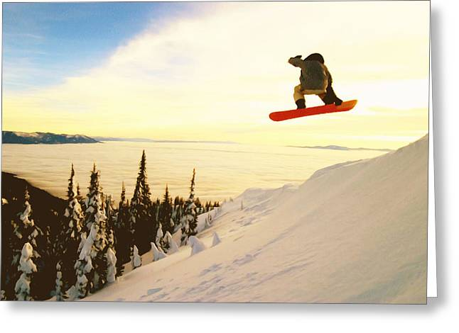 Dangerous In Winter Greeting Cards - Snowboard Jumping in high mountains Greeting Card by Lanjee Chee