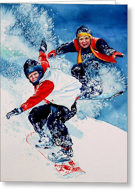 Winter Sports Art Prints Greeting Cards - Snowboard Psyched Greeting Card by Hanne Lore Koehler