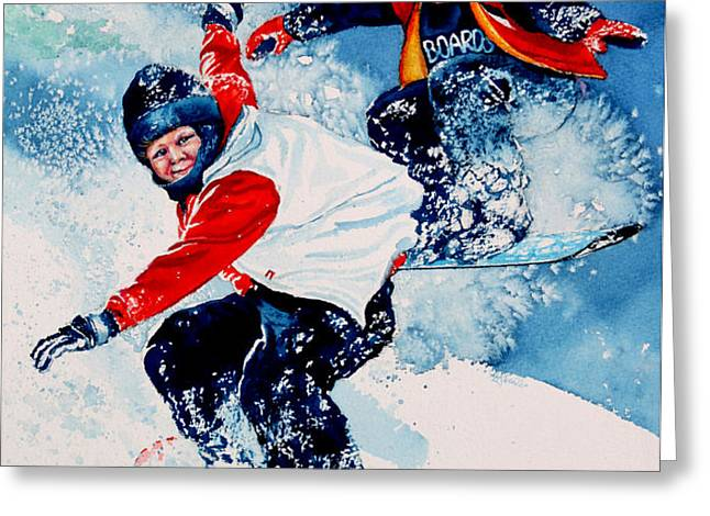 Snowboard Psyched Greeting Card by Hanne Lore Koehler