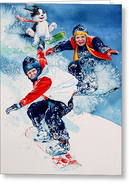 Winter Sports Art Prints Greeting Cards - Snowboard Super Heroes Greeting Card by Hanne Lore Koehler