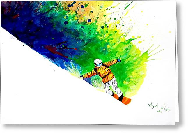 Ski Art Greeting Cards - Snowboarder 1 Greeting Card by Angee Skoubye