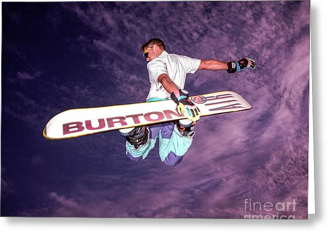 Burton Greeting Cards - Snowboarder 2 Greeting Card by Bruce Stanfield