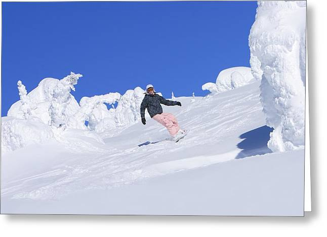 Self Confidence Greeting Cards - Snowboarder Carving Down Slope Greeting Card by Leah Hammond