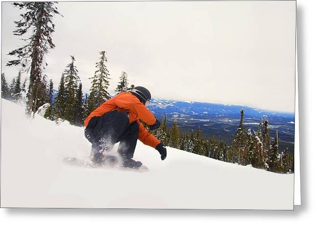 Self Confidence Greeting Cards - Snowboarder Crouching Down Low As He Greeting Card by Leah Hammond