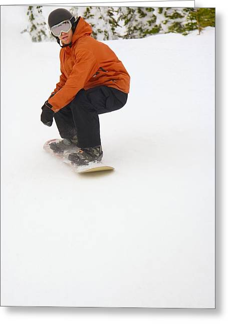 Self Confidence Greeting Cards - Snowboarder Going Down Snowy Hill Greeting Card by Leah Hammond