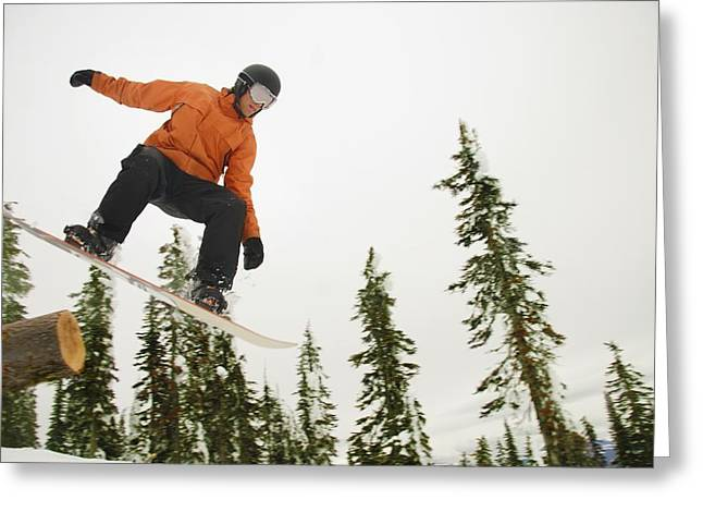 Self Confidence Greeting Cards - Snowboarder In Mid Air Greeting Card by Leah Hammond