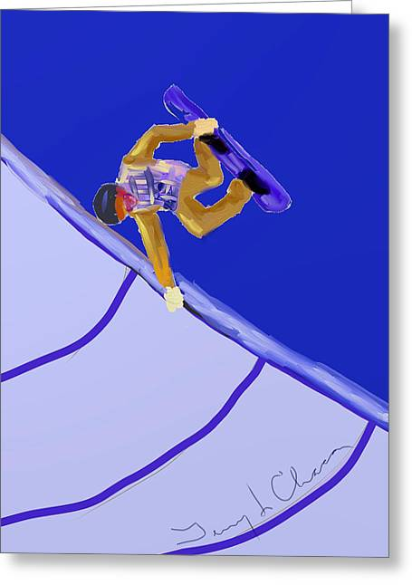 Terry Chacon Greeting Cards - Snowboarder Greeting Card by Terry  Chacon
