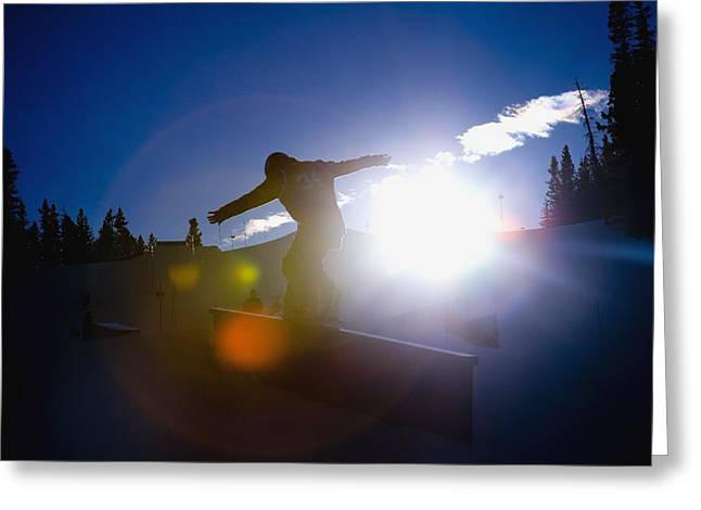 Snow Boarder Greeting Cards - Snowboarder Greeting Card by Tes Lalonde