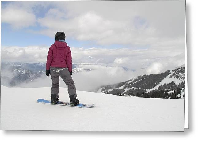 Snow Boarder Greeting Cards - Snowboarder, Whistler, British Greeting Card by Keith Levit