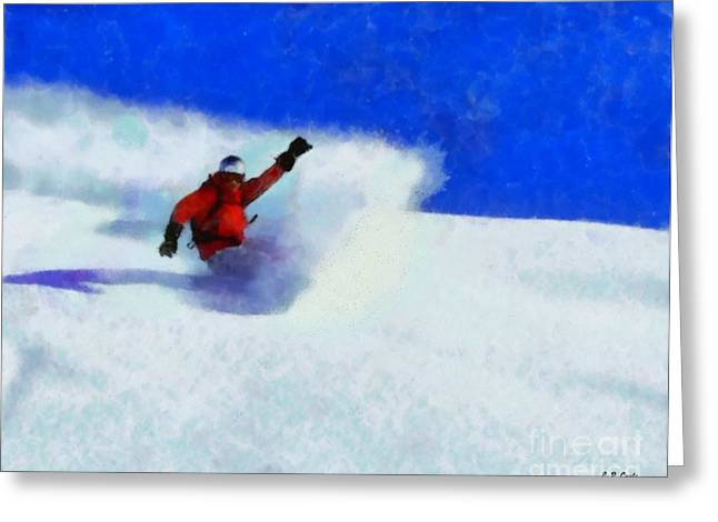 Snow Skiing Print Greeting Cards - Snowboarding  Greeting Card by Elizabeth Coats