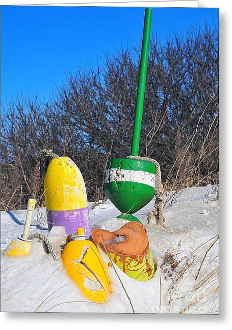 Catherine Reusch Daley Fine Artist Greeting Cards - Snowbound Buoys Greeting Card by Catherine Reusch  Daley