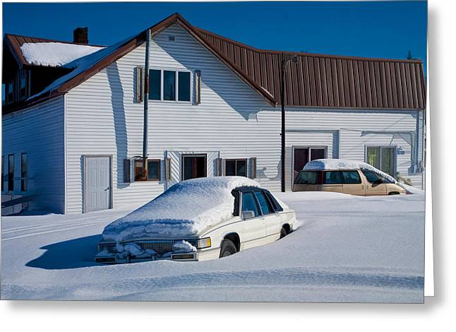 Cars In Winter Greeting Cards - Snowbound Cars in Michigans Upper Peninsula Greeting Card by Randall Nyhof
