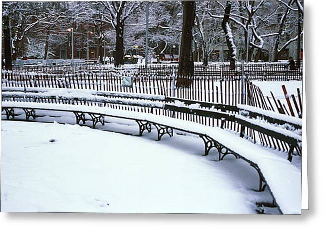 Snow New York City Greeting Cards - Snowcapped Benches In A Park Greeting Card by Panoramic Images