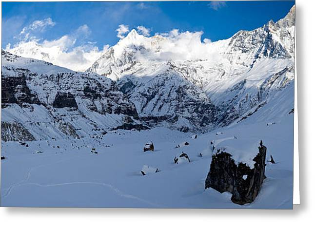 Mountain Greeting Cards - Snowcapped Mountain, Annapurna Base Greeting Card by Panoramic Images