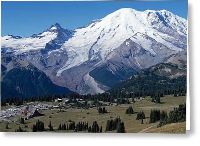 Pierce County Greeting Cards - Snowcapped Mountain, Mt Rainier, Mt Greeting Card by Panoramic Images