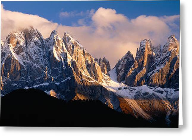 Snowcapped Mountain Peaks, Dolomites Greeting Card by Panoramic Images