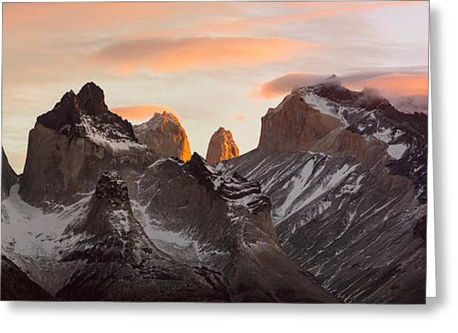 Paine Greeting Cards - Snowcapped Mountain Range, Paine Greeting Card by Panoramic Images