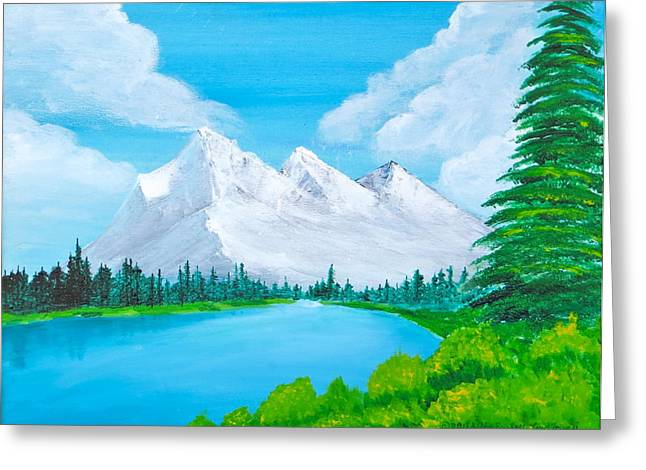 Bob Ross Paintings Greeting Cards - Snowcapped Mountains Greeting Card by Artistic Indian Nurse