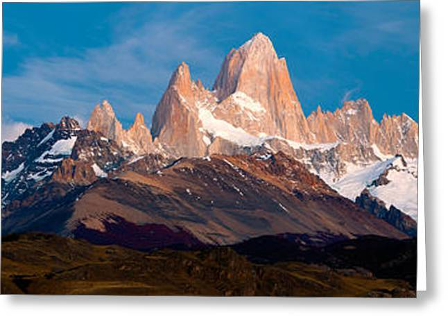 Santa Cruz Greeting Cards - Snowcapped Mountains, Mt Fitzroy, Cerro Greeting Card by Panoramic Images