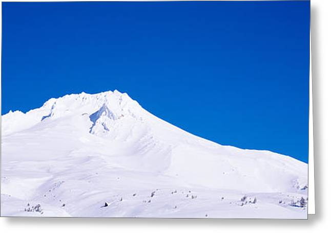 Mountain Greeting Cards - Snowcapped Mountains, Mt Hood, Oregon Greeting Card by Panoramic Images