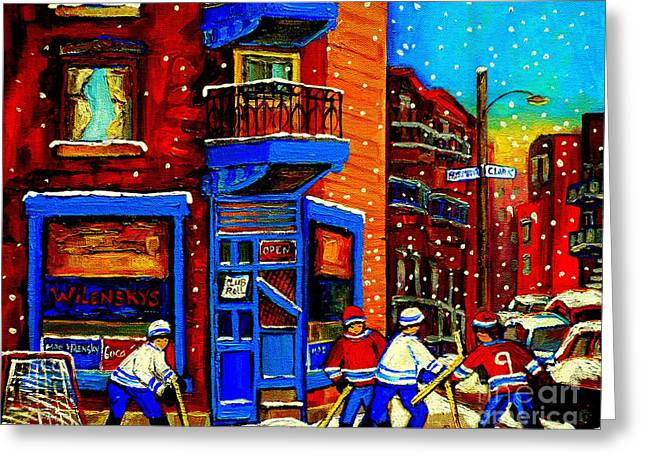 After School Hockey Greeting Cards - Snowday Hockey Practice Wilenskys Corner Fairmount And Clark Montreal City Scene Carole Spandau Greeting Card by Carole Spandau