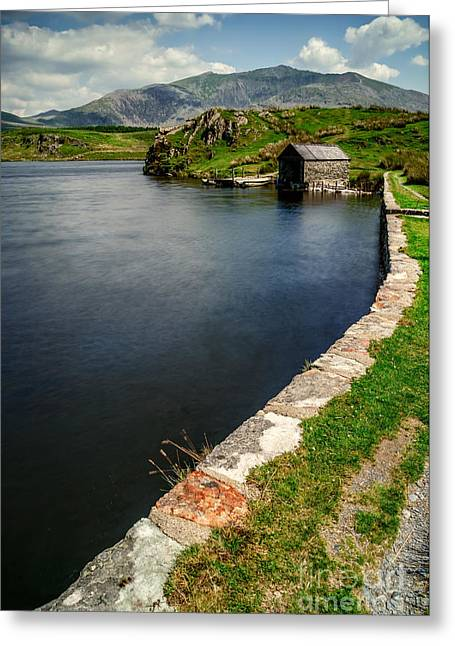Hiking Greeting Cards - Snowdon From Llyn Y Dywarchen Greeting Card by Adrian Evans