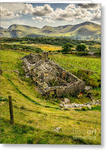 Dilapidated Digital Art Greeting Cards - Snowdon Ruin Greeting Card by Adrian Evans