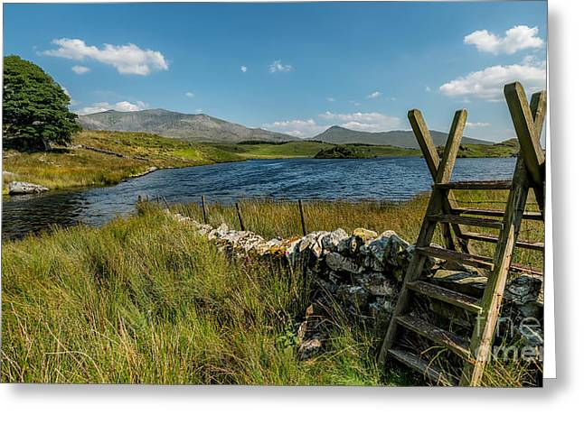 Stone Steps Greeting Cards - Snowdon Stile Greeting Card by Adrian Evans
