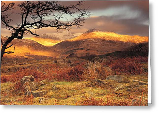 Colorful Photography Greeting Cards - Snowdonia National Park, Wales, United Greeting Card by Panoramic Images