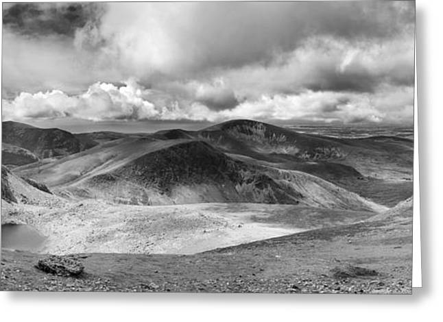 Peaceful Scenery Greeting Cards - Snowdonia panorama in Black and White Greeting Card by Jane Rix