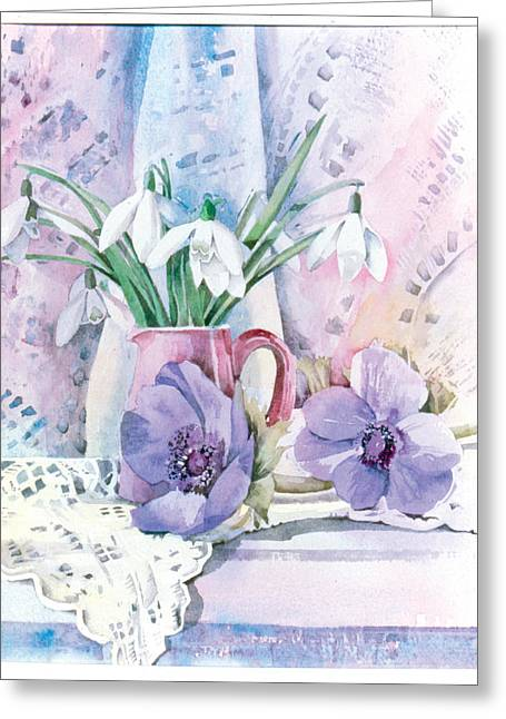 """indoor"" Still Life Greeting Cards - Snowdrops And Anemones Greeting Card by Julia Rowntree"