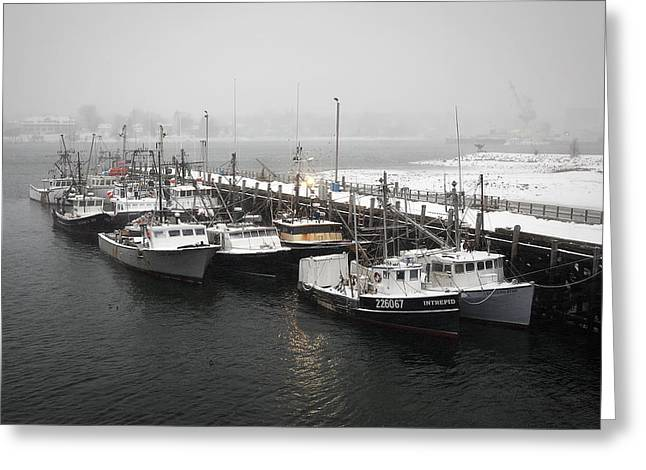 Boats In Harbor Greeting Cards - Snowed In Greeting Card by Eric Gendron